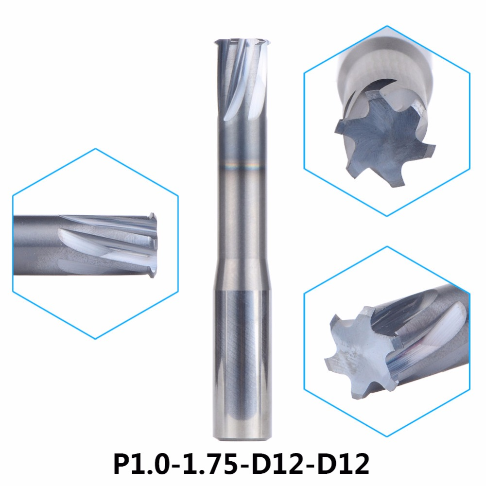 цена на Tungsten Carbide Alloy Single Teeth Thread Milling CutterP1.0-1.75-D12-D12 threading end mill single tooth For Metric 1.0-1.75mm