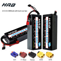 HRB Lipo Battery 2S 3S 4S 3600mAh 60C 7.4V 11.1V 14.8V Lipo XT60 Hard Case For 4x4 rc monster truck Cars Boats 1/8 1/10