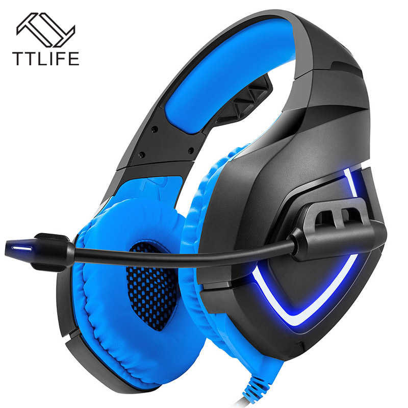 TTLIFE HiFi Headphones Wired Gaming Headset Stereo Bass Noise Cancelling LED Light with Microphone For PS4 Xbox One PC Laptop rock y10 stereo headphone earphone microphone stereo bass wired headset for music computer game with mic