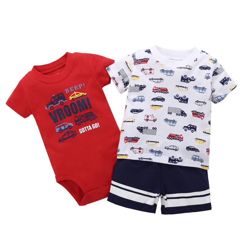 3PCS Set new bron baby boy Tops truck print T Shirts+romper+shorts clothes suit 0-24M BABY gift Casual Clothing short sleeves