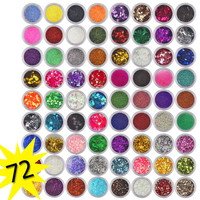 New Professional 72 Colors Spangle Nail Glitter Paillette Sequins Acrylic UV Glitter Powder Polish Tips Set Beauty Nail Art