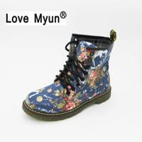 Nueva mujeres Flor de impresión Cordón de la vendimia Martin tobillo Zapatos estilo británico tela plana primavera otoño botas size40