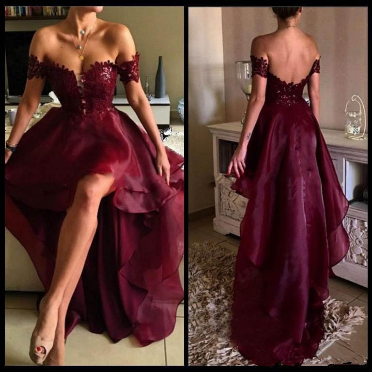 2019   Prom     dresses   Off the Shoulder Appliqued Lace Red Wine High Low Party Graduation Backless Elegant Evening Gown   prom     dress
