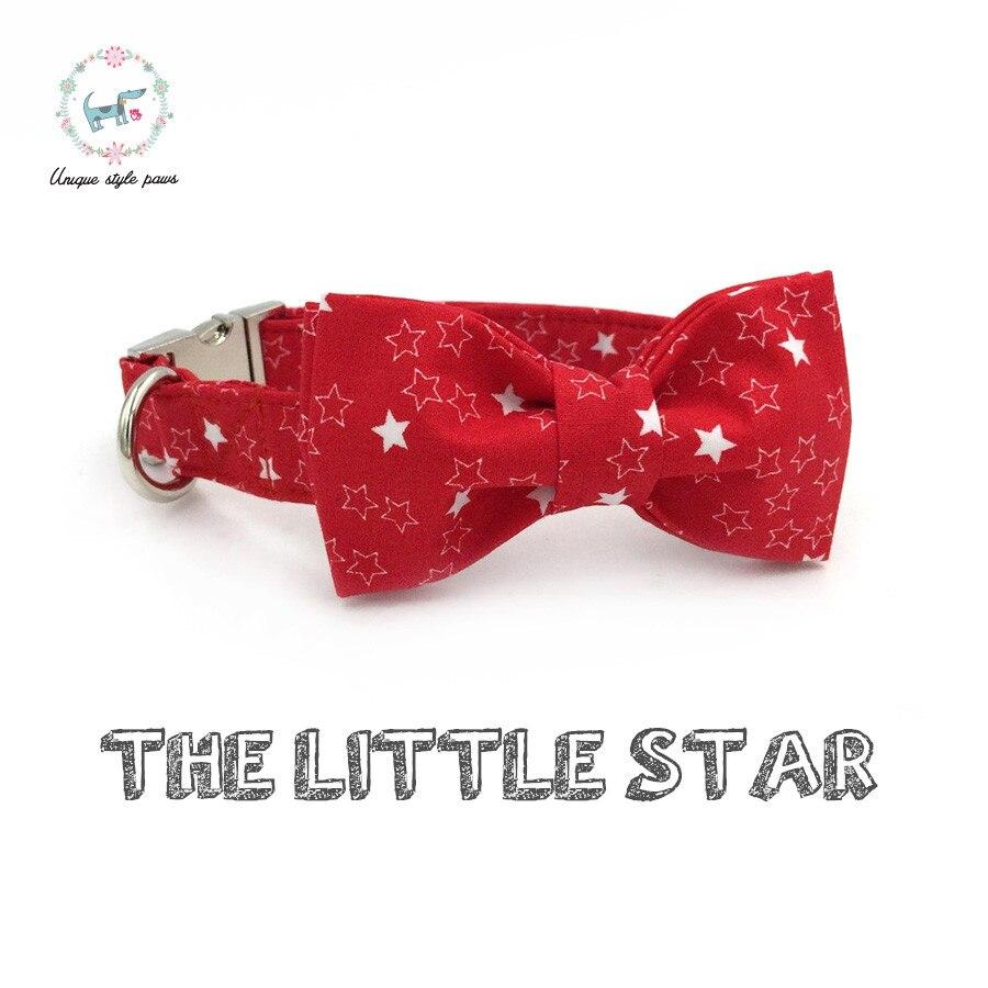 Collar de estrella roja con pajarita de algodón perro y gato collar de mascota hebilla ajustable para regalo de Navidad de Mascota
