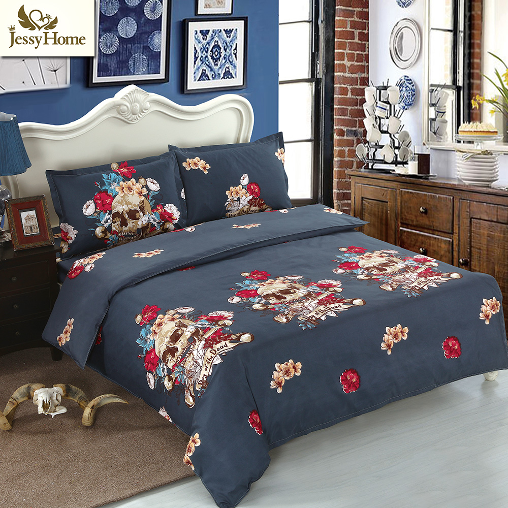 Jessy Home 3D Reactive Pringting Bed Linens Skulls Bedding