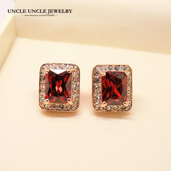 c5ea7fda6 Rose Gold Color Red Austrian Crystal Rectangle Princess Cut Woman Stud  Earring Wholesale