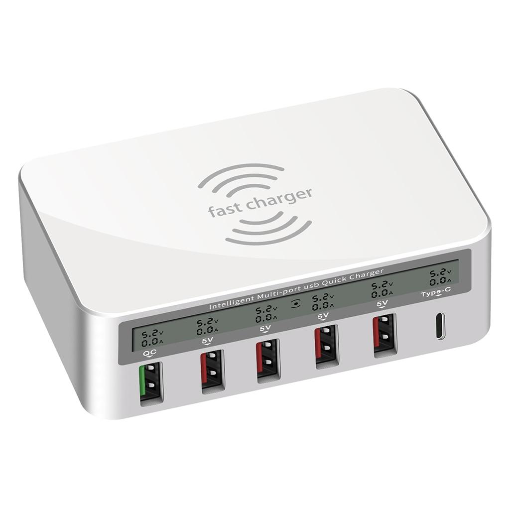 Smart multi-port usb hub estação de carregamento qi carregamento sem fio carga rápida 3.0 tipo c carregador adaptador para iphone samsung