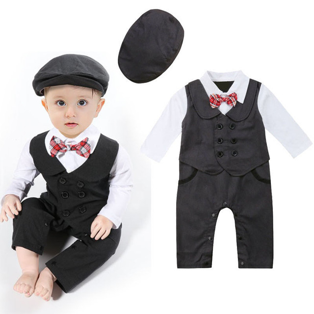6a9fff22168 Newborn Baby Boys Gentleman Formal Suit Romper With Tie Jumpsuit Tuxedo Hat  Outfit Clothes