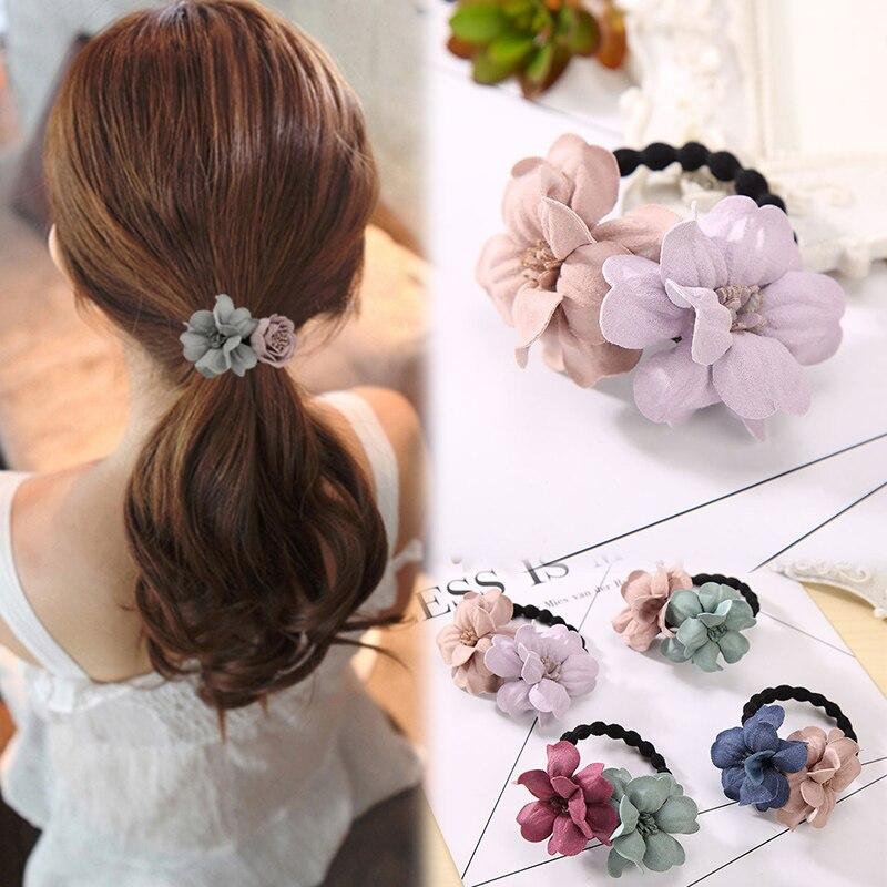 Hot Sale 1 Pc Cloth Flower Shape Popular Elastic Hairband Charming Elegant Ponytail Rubber Bands  4 Colors