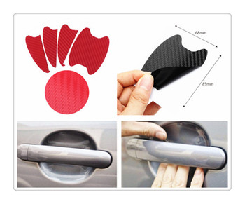 Car shape 3D carbon fiber door handle wrist anti-scratch sticker for Ford Five FG F-350 F-250 E-Series Interceptor Airstream image
