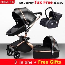 ¡Envío gratis! Cochecito de bebé 2018 de marca de 3pzs, cochecito de bebé 3 en 1 de cuero con cesto para asiento de auto de EU, coche de bebé recién nacido
