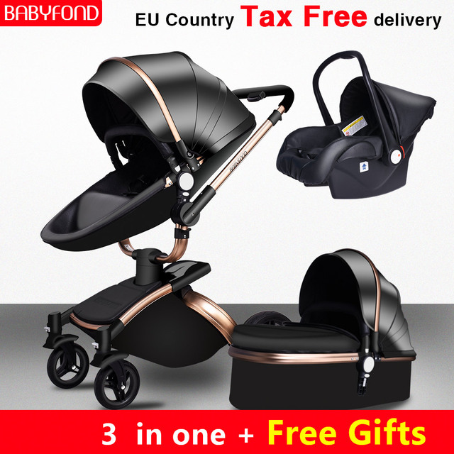 Babyfond משלוח ספינה! יילוד יוקרה 3 ב 1 בייבי עגלת מותג תינוק עור מפוצל Pram האיחוד האירופי בטיחות רכב מושב עריסה יילוד 0-3 שנים