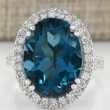 Classic Large Oval Blue/Purple Stone Rings For Women Luxury Jewelry Crystal Zircon Ring Bague Engagement Anillos L3K152
