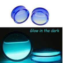 1Pair Acrylic Ear Tunnel Luminous Liquid Inset Saddle Plugs  Gauges Body Piercing Glow In The Dark Ear Reamer Expander 8mm -25mm