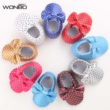 WONBO baby girl shoes Polka Dot Big Bow Newborn shoes First Walkers PU Leather Baby Moccasins