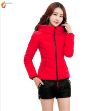 XL 6XL2017 Autumn Winter Fashion Women Cotton down jacket Coat Loose Leisure Pure color Hooded Keep