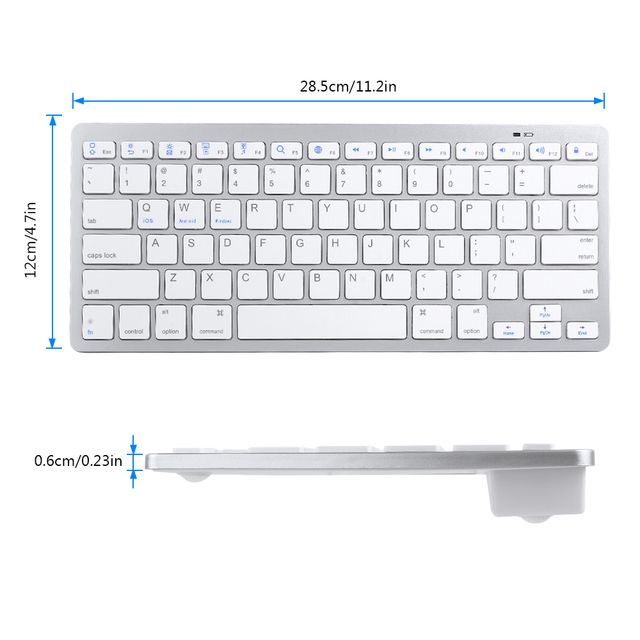 Russian French Arabic Spanish Wireless Keyboard Bluetooth 3.0 for iPad Tablet Laptop Support iOS Windows Android System 5
