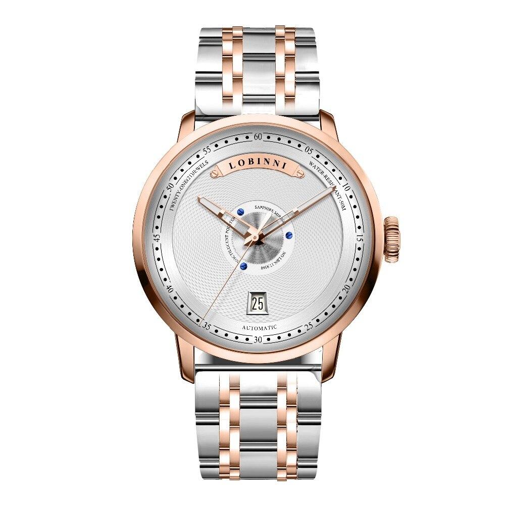 LOBINNI Mens Business 50M Waterproof Steel / Leather Strap Fashion Dial Automatic Self-wind Mechanical Wrist Watch - Rosegold