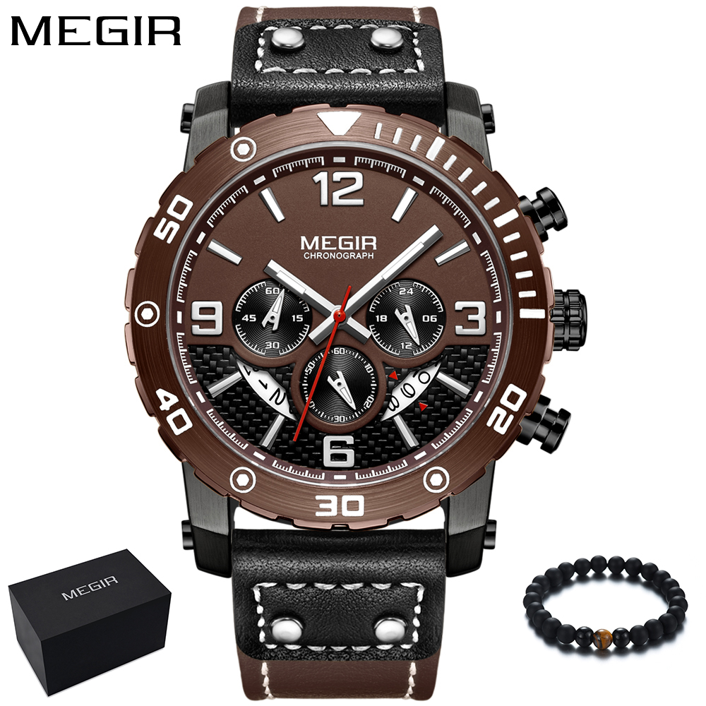 Fashion Watch Men MEGIR Mens Watches Top Brand Luxury Chronograph Quartz Sport Watch Army Military Leather Wrist Watch Man 2018 megir men s wrist watch top luxury brand mens chronograph clocks military sport army clock men male classic quartz watches 3010