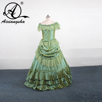 Free Shipping A Line Hot Sale New Arrival Vestidos Longo OFF The Shoulder Green Applique With
