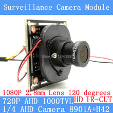 Color HD CMOS 1000TVL AHD CCTV Camera Module 1080P 2.8mm Lens surveillance cameras IR-CUT dual-filter switch BNC / OSD cable
