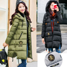 Fashion Cotton-padded Jacket Medium-long Coat Army Green Winter Parkas Women's Wadded Jacket Thickening Women Outerwear