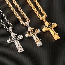 5f2eaf05ab87 Nuevo Vintage Acero inoxidable Cruz collares colgante bizantino para  hombres cadena oro plata Color Hip Hop collar hombre joyerí.