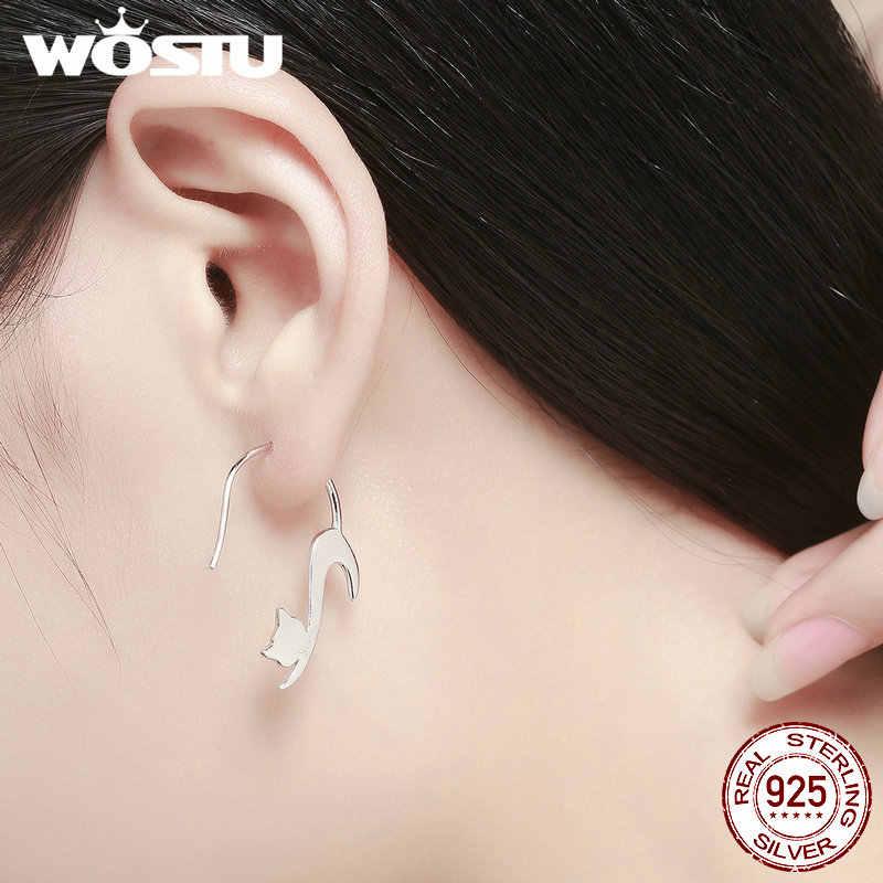 f27a908a3 ... WOSTU 2019 Pure 925 Sterling Silver Asymmetry Animal Loving Cute Cat  Hook Earrings Women Unique S925 ...