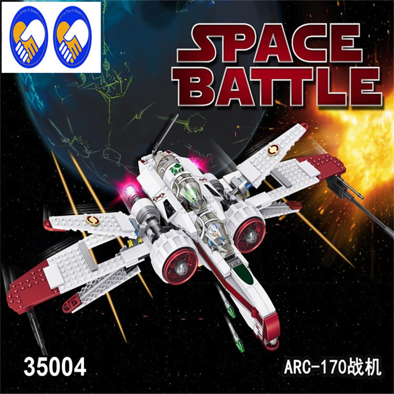 A Toy A Dream 2017 LELE 35004 Star Wars Captain Jag Clone Pilot R4-P44 ARC-170 Fighter Assembled Toy Building Blocks Toys lepin