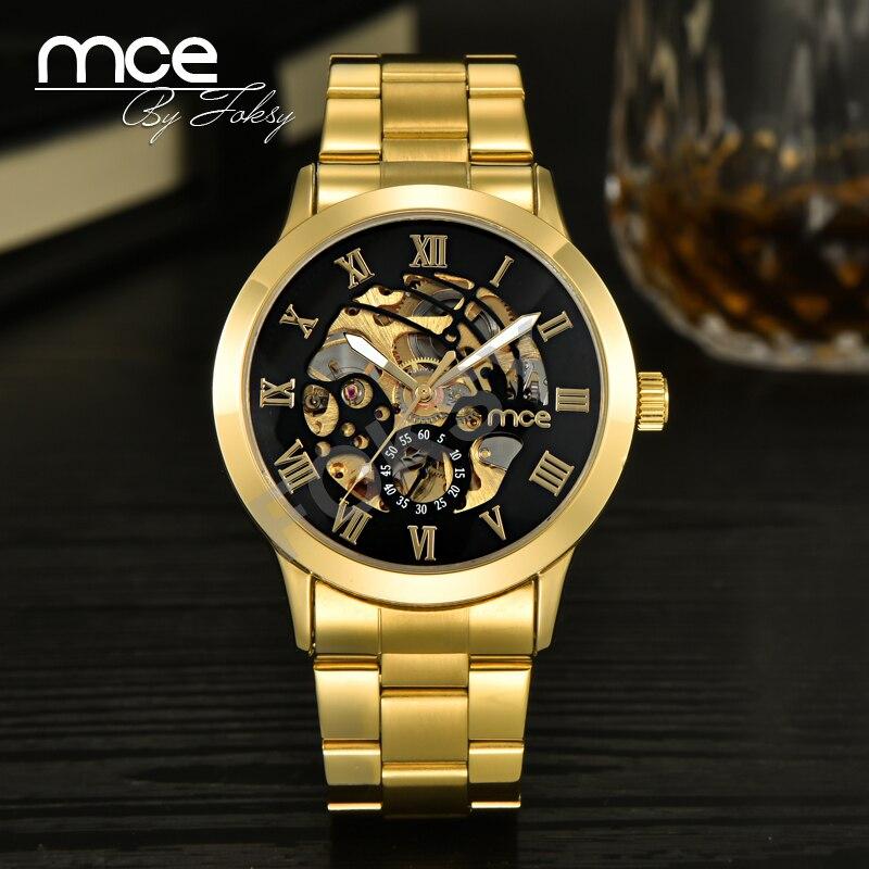 2018 nuevos relojes mecánicos automáticos de marca MCE para hombres de lujo de moda reloj numérico romano dorado informal de acero inoxidable 331