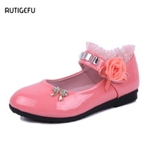 RUTIGEFU children's shoes 2017 autumn new girl lace magic paste princess shoes children wedding shoes for girl copodenieve