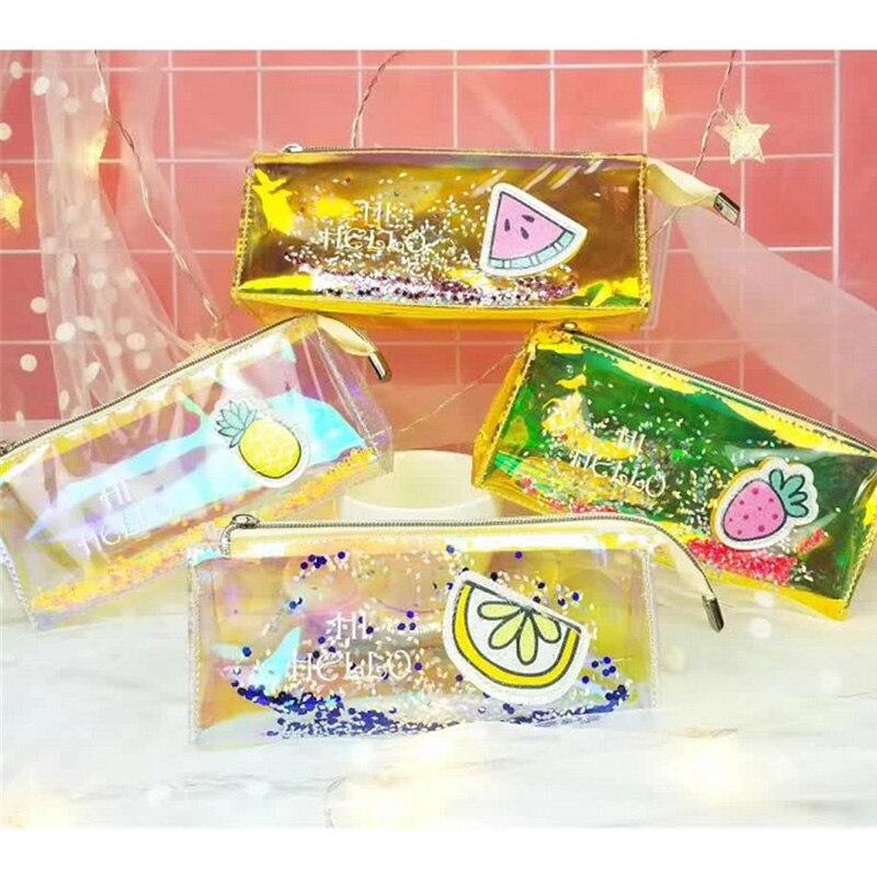 Novelty Fruit Glitter Pencil Case Transparent Laser Pencil Bag as Writing Supplies 4pcs/lot fruit print pencil case