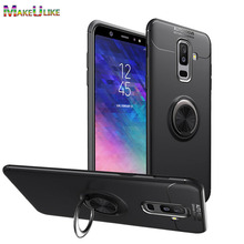MAKEULIKE Ring Slim Cover For Samsung Galaxy A6 Plus 2018 Case Soft TPU Phone Back Cases for Samsung A6 A6Plus 2018 Cover