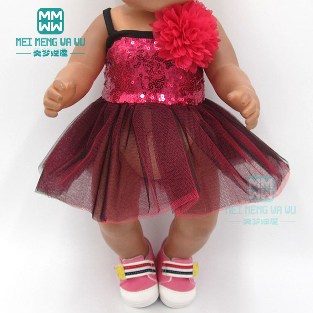 Clothes For Doll Fit 43cm Baby New Born Dolls Accessories And American Doll Fashion Sequined Dress