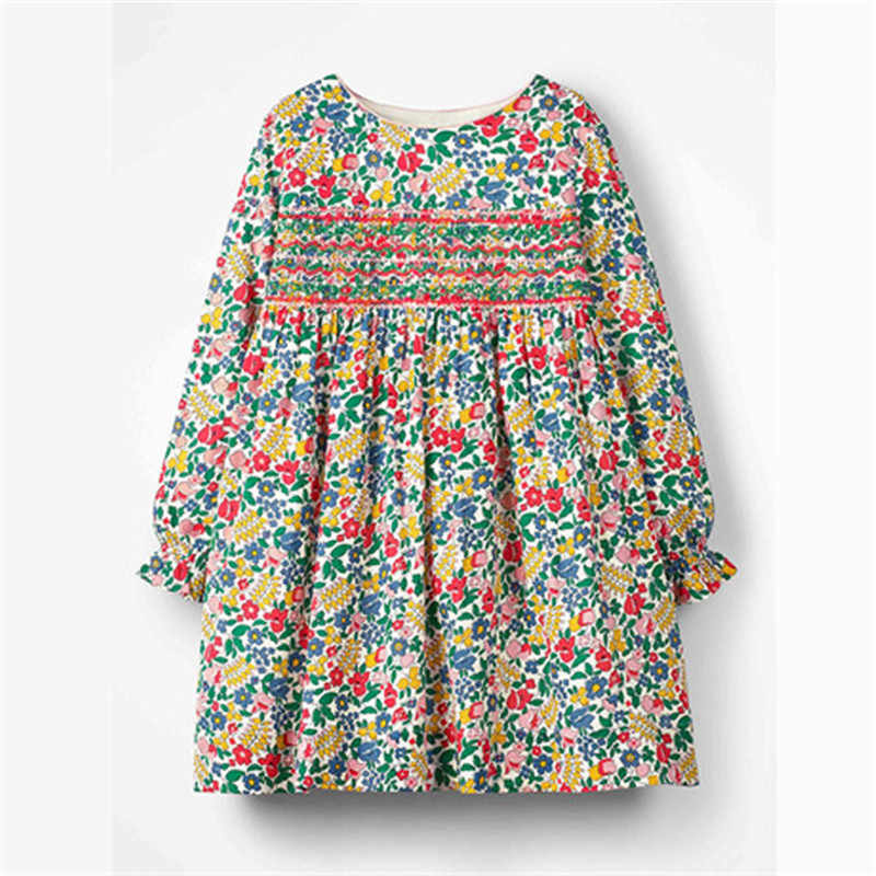 2019 Long Sleeve Kids Girls Fall Autumn Spring Girls Clothes Full Flower Printing Princess Party Children Dresses 2-7 Years