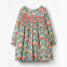 2019 Long Sleeve Kids Girls Fall Autumn Spring Girls Clothes Full Flower Printing Princess Party Children Dresses 2-7 Years autumn clothes for baby girls children long sleeve cotton clothing fall girls dresses kids clothes toddler girls wear 7 8 years