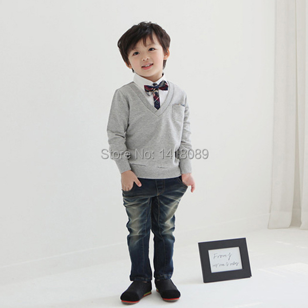 2017-New-Kids-Boys-School-Bow-Tie-Long-Sleeve-Pullover-Sweater-Knit-Wear-Knitted-1-4T-3