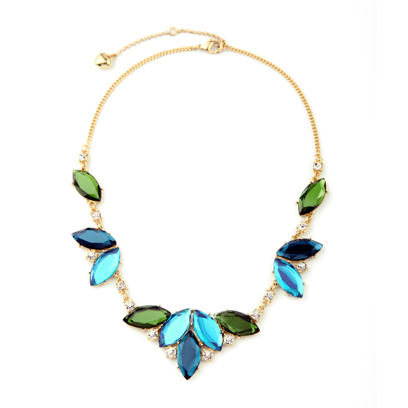 Gifts for Women 2016 Noble Fashion Crystal Leaves Maxi Necklace New Arrival Collar Necklace Fashion Jewelry