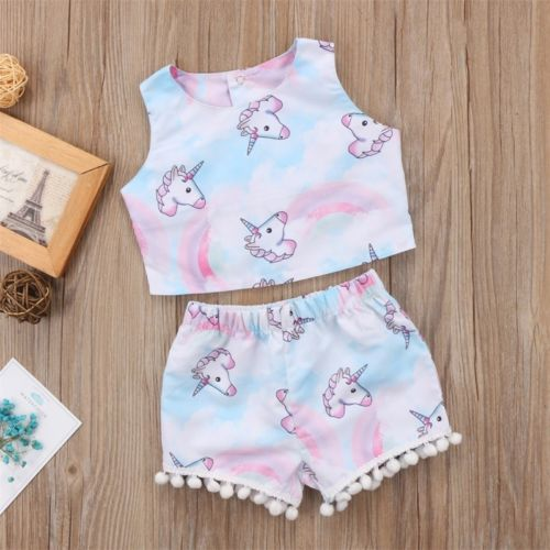 Cute Summer Kids Toddler Baby Sleeveless Cotton Girl Unicorn T-shirt Crop Top+Shorts Outfit Clothes Set