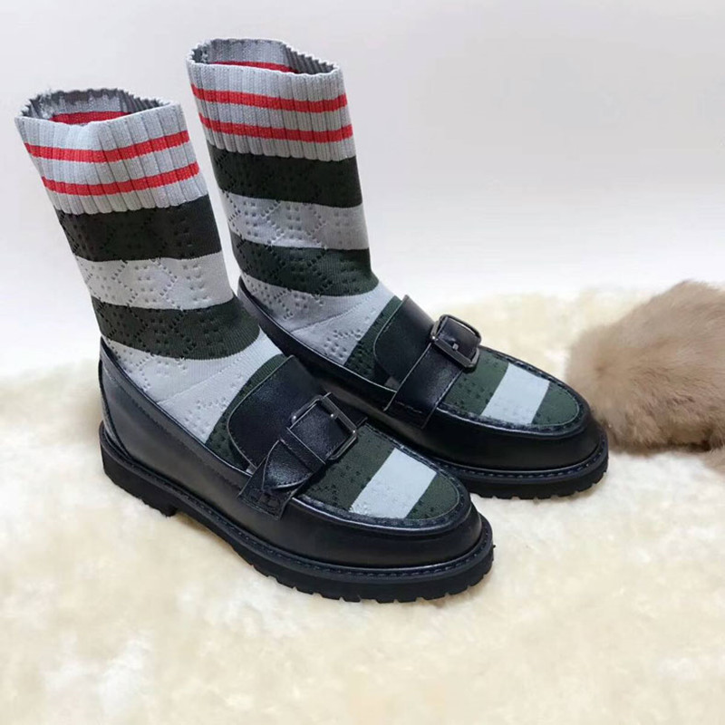 Retro Black Striped Stretch Women Socks Boots Belt Buckle Luxury Brand Shoes Slip On Ankle Autumn Winter Martain Casual Boots slip on winter boots stretch lycra