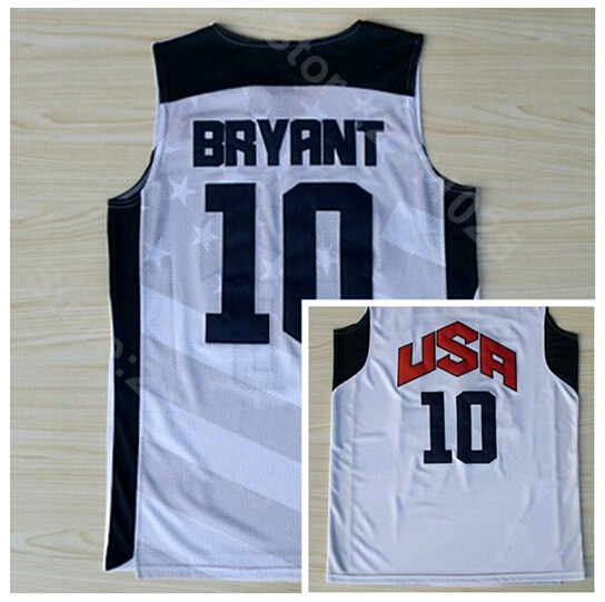 the latest dc4a3 4e14f US $16.46 39% OFF|Ediwallen Men Basketball 10 Kobe Bryant 2012 USA Dream  Team Ten Jerseys Navy Blue White All Stitching Breathable For Sport Fans-in  ...