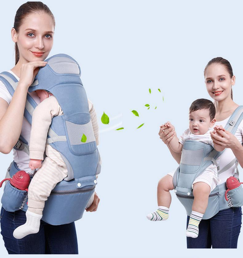 4 IN 1 Multifunction Outdoor Kangaroo Baby Carrier With Hood Sling Backpack Infant Hipseat Adjustable Wrap Newborn Storage Bag