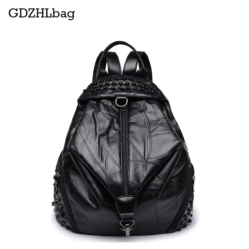 GDZHLbag Famous Backpack Brands Genuine Leather Women Sheepskin School Backpack Black Mater Rivet Women's Backpacks 2017 B098