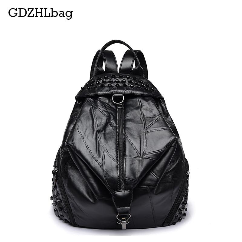 GDZHLbag Famous Backpack Brands Genuine Leather Women Sheepskin School Backpack Black Mater Rivet Women's Backpacks 2017 B098 relief icona b mater