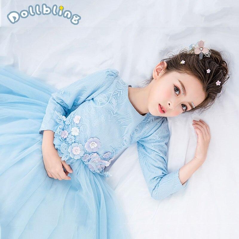 Robe de princesse en dentelle pour enfants fête chinoise Style Cheongsam robes de mariée à manches longues Floral Bowknot enfants robe élégante