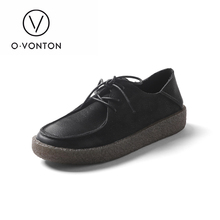 Q.VONTON 2017 Autumn retro real cow leather-based sneakers ladies's flats feminine lace up spherical toe informal sneakers