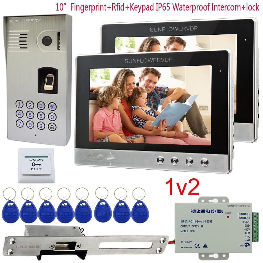 IP65 Impermeabile Video Citofono 2 Appartamento di Impronte Digitali Rfid Codice Macchina Fotografica Per Citofono 10