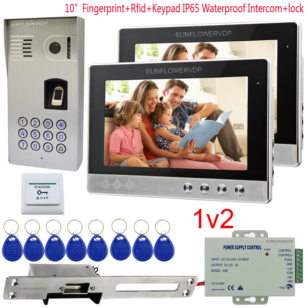 IP65 Waterproof Video Intercom 2 Apartment Fingerprint Rfid Code Camera For Doorphone 10 Color Monitor + Electric Strike Lock for 2 apartment video intercom fingerprint recognition password 700tvl sony camera unlock intercom video phone ip65 waterproof