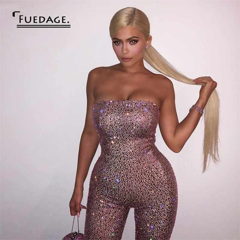f6326c6b7916 Fuedage Playsuit Women Strapless Off Shoulder Rompers Womens Jumpsuit  Summer Sexy Club Sequin Bodycon Jumpsuits For