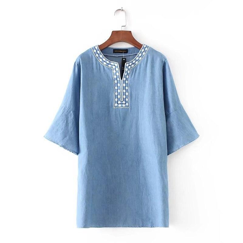 2018 летнее платье новые женские с короткими рукавами v-образным вырезом платье с вышивкой платье из джинсовой ткани vestidos джинсы